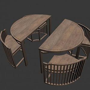环形桌椅3d模型