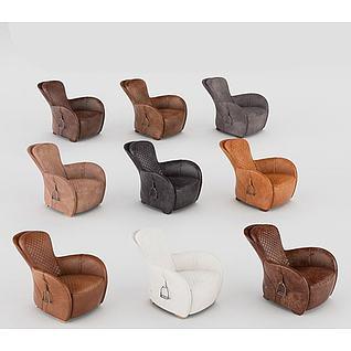 现代皮质沙发3d模型