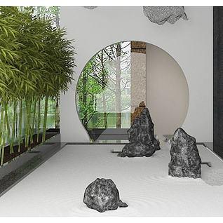 园林假山植物3d模型