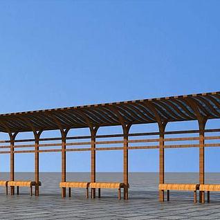 花架廊架3d模型