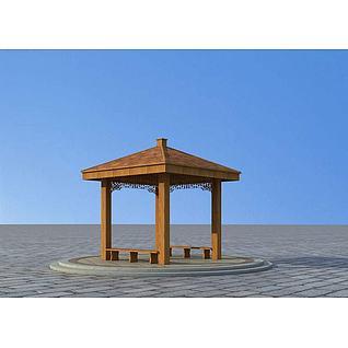 凉亭亭子3d模型