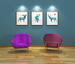北欧单人紫色沙发模型3d模型