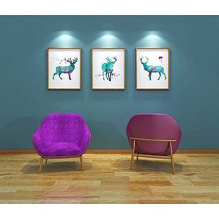 北欧单人紫色沙发3d模型