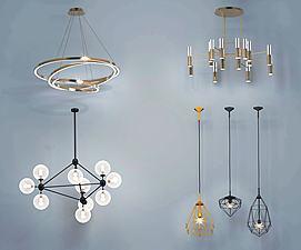 现代金属客餐厅创意吊灯3d模型