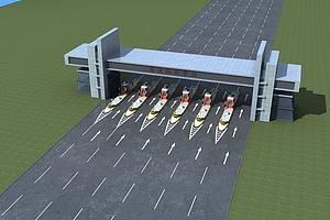 高速路收费站模型模型