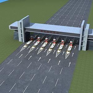 高速路收費站模型3d模型