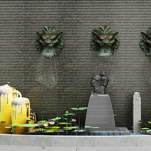 虎頭噴泉模型3d模型