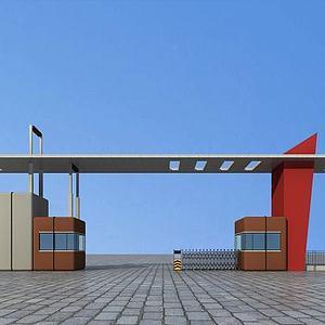 厂区大门入口模型3d模型