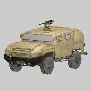 帶機槍塔軍用吉普車模型3d模型