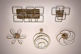 现代金属创意环形吊灯3D模型