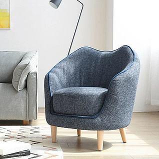 现代北欧蓝色沙发3d模型3d模型
