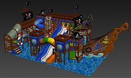 海盗船淘气堡模型