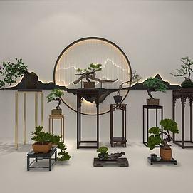 新中式植物摆件模型