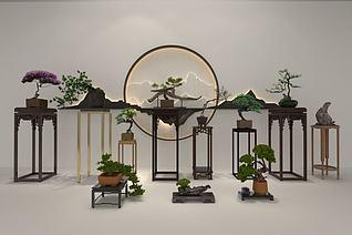 新中式植物摆件模型3d模型