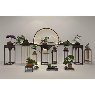 新中式植物摆件3d模型