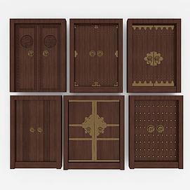 中式大门双开门实木门模型