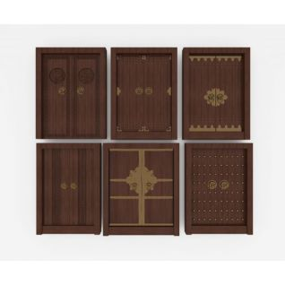 中式大门双开门实木门3d模型