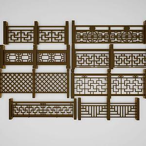 新中式欄桿模型3d模型