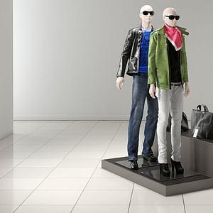 商场服装模特组合模型