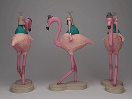 北欧摆件粉色火烈鸟3D模型