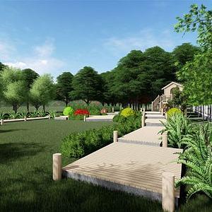 木棧道模型3d模型