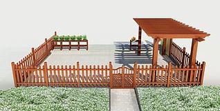木护栏3d模型