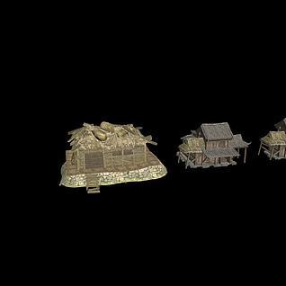 古代写实茅草屋3d模型