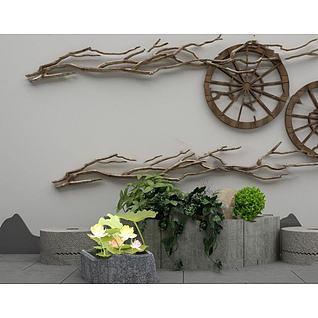 园艺小品庭院阳台假山植物3d模型