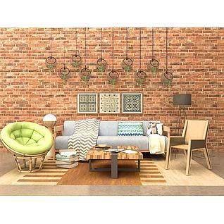 沙发组合3d模型3d模型
