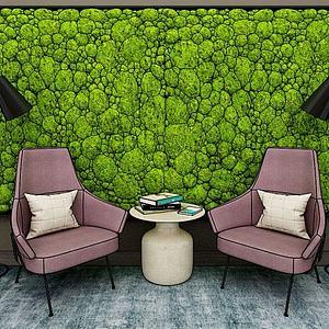 植物背景墙模型