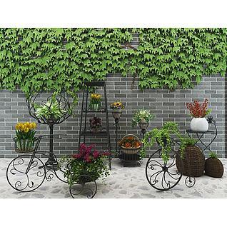 砖墙绿植3d模型