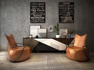 工业风沙发椅3d模型