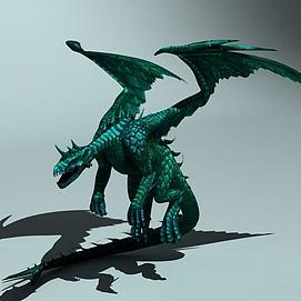 西方翼龙火龙怪物龙模型