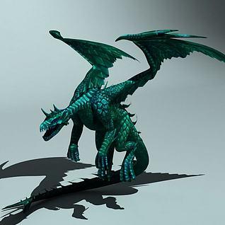 西方翼龙火龙怪物龙3d模型