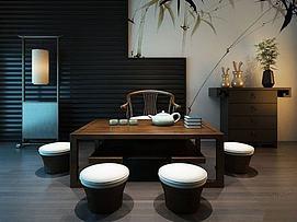 日式茶桌模型