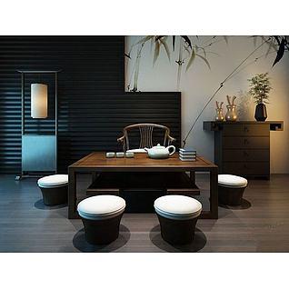 日式茶桌3d模型