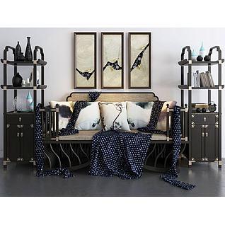 沙发书架挂画3d模型
