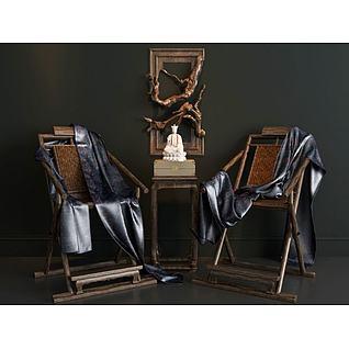 椅子根雕挂画3d模型