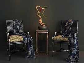 椅子枯枝盆景模型