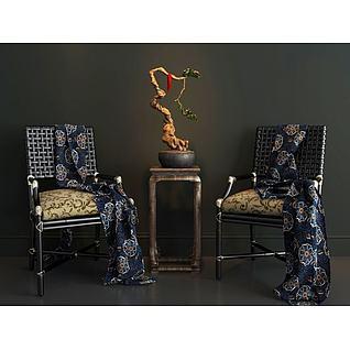 椅子枯枝盆景3d模型