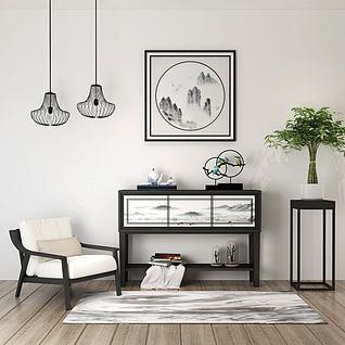 单椅边柜挂画3d模型