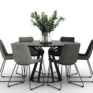 北欧风格的餐桌3d模型