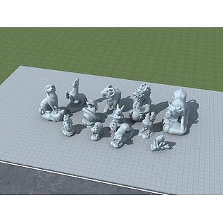 十二生肖雕塑3d模型3d模型