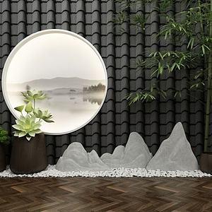 新中式园艺小品景观模型