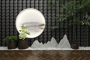 新中式园艺小品景观模型3d模型
