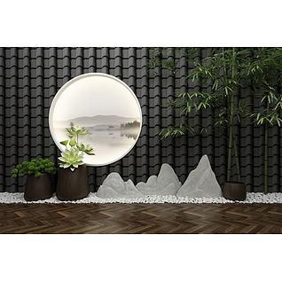 新中式园艺小品景观3d模型3d模型