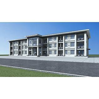 新中式宿舍楼3d模型