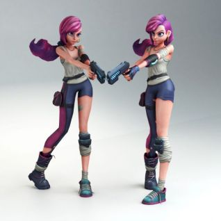 游戏角色疯狂女孩模型3d模型