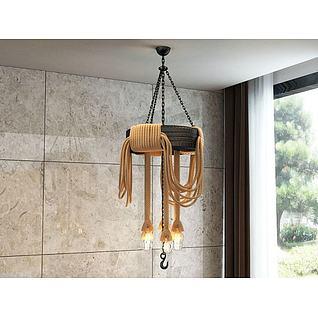 工业麻绳吊灯3d模型3d模型