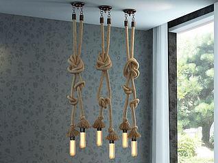 工业麻绳吊灯模型3d模型